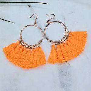 5 for $25 Hot Orange Hoop Tassel Fringe Earrings